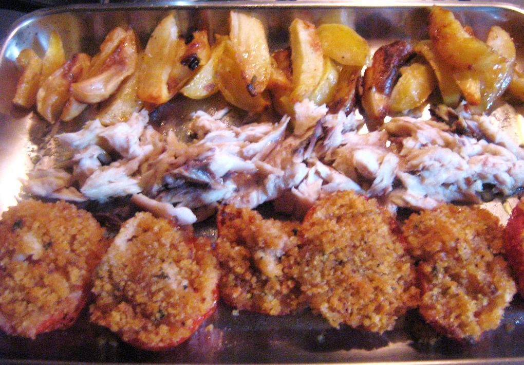 | ricette senza latte e uovo | pesce arrosto con pomodori gratinati
